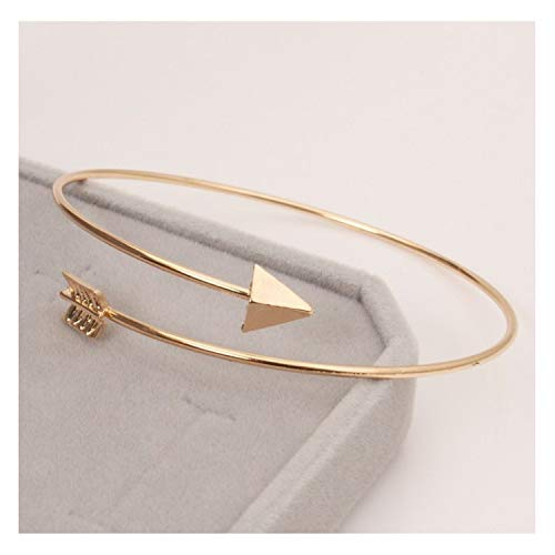 Punk Open Adjustable Arrow Cuff Bracelets for Women Gothic Wrist Feather Bangles,LA152 Gold