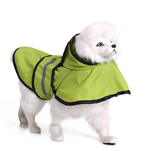 Olive green S olive green S MESASA Dog Raincoat, Waterproof Transparent & Camouflage Pet Rain Jacket, Lightweight Rain Poncho with Strip Reflective for Small and Medium Dog (S, Olive Green)