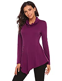 Meaneor Women's Cowl Neck Long Sleeve Buttons Ruched Tunic Tops Blouse