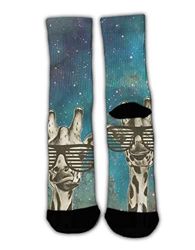 GLORY ART Novelty Gift - Giraffes with Line Sunglass - Christmas Holiday Socks Slipper Socks Fun Colorful Dress Socks, Men Women Warm Soft Winter Socks