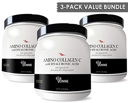Amino Collagen C - Collagen Peptide Powder (3 Pack/180 Servings) - Pure Fish Protein with Hyaluronic Acid. No Sugar. No Odor. No Flavor.