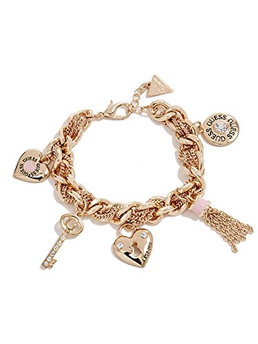 GUESS Women's Gold-Tone and Pink Link Charm Bracelet
