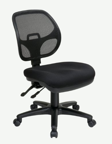 Office Star Breathable ProGrid Back and Padded Seat, Armless Ergonomic Task Chair, Black