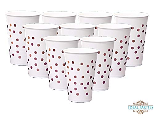 Rose Gold Dot Disposable Cups 12 oz Paper Drinking Cup 50 PCS for Party Wedding Elegant Fancy Decorations Holiday Anniversary Birthday Supplies Bachelorette Baby Shower -
