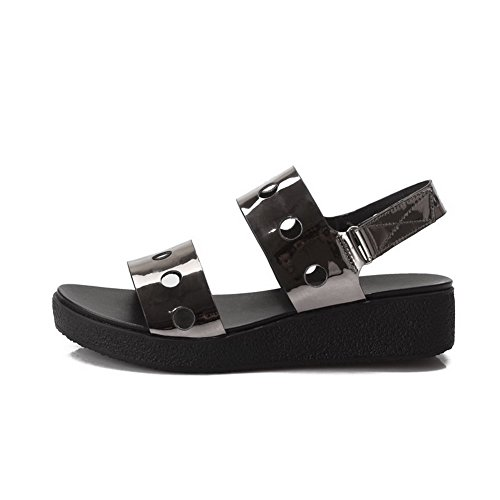 AgooLar Mujeres Mini Tacón Sólido Velcro Puntera Abierta Sandalia Gris