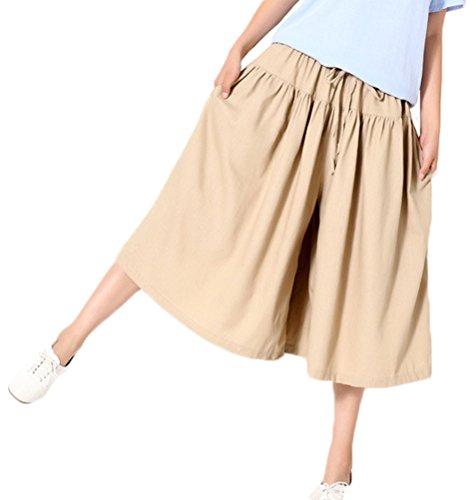 Soojun Womens Elastic Waist Cotton Linen Cropped Palazzo Pants Trouseres