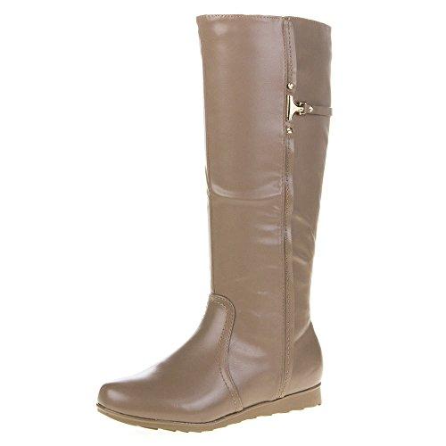 Mujer Guantes, QQ de 55, botas marrón claro