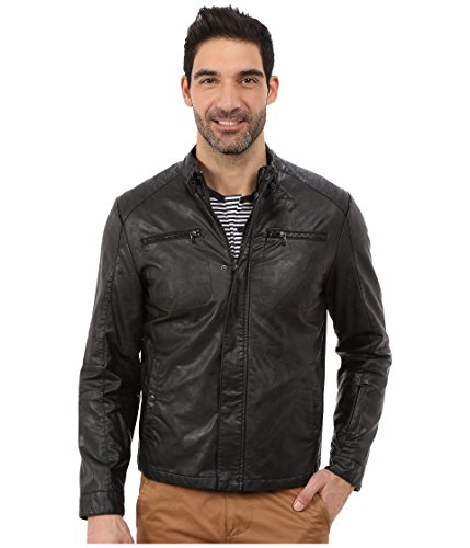Kenneth Cole New York Faux Leather Moto Jacket (L, BLACK) (Kenneth Cole Reaction Faux Leather Moto Jacket)