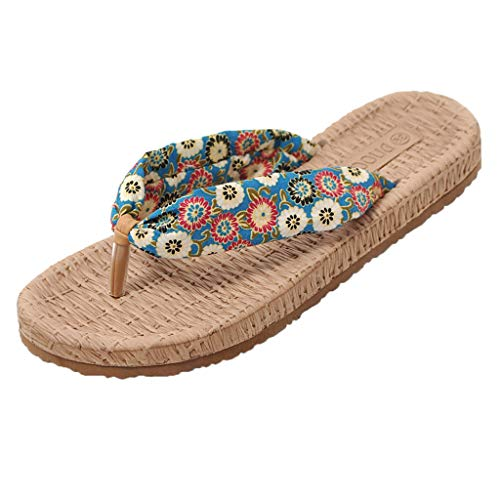 Haalife◕‿¿Women's Boho Flip-Flop Sandals Ladies Slip on Floral Flat Sandal Casual Espadrille Summer Shoes Rhinestone Design Blue