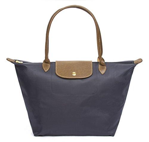 Korvara Women's Tote Bag, Premium Nylon and Vegan Saffiano Leather Shoulder Handbag, Blue, Large