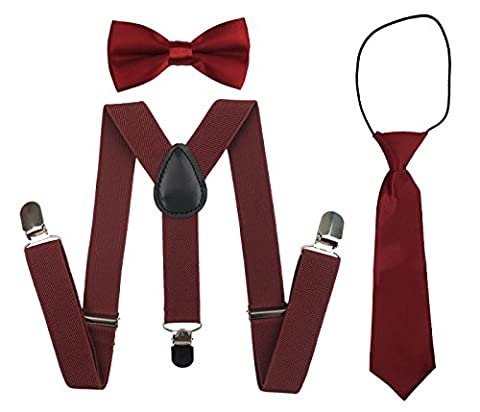 Suspenders Set for Kids, Polyester Material Y-Shape with Bowtie and Necktie (Wine Red) - Kids Necktie