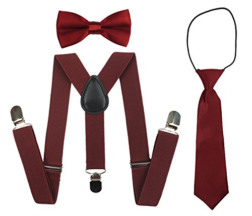 Suspenders Set for Kids, Polyester Material Y-Shape with Bowtie and Necktie (Wine Red) -