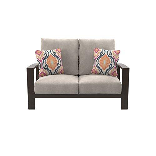 Ashley Furniture Signature Design - Cordova Reef Outdoor Loveseat with Cushion - Ladderback Design - Dark Brown (Reef Furniture)