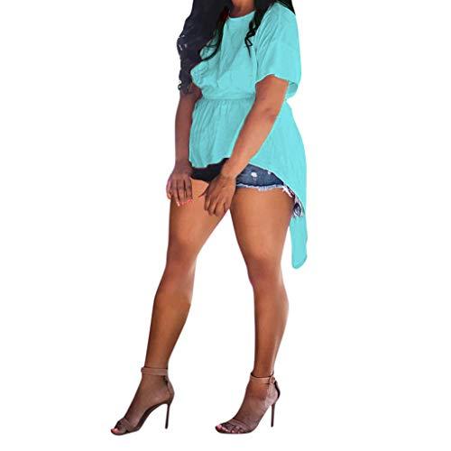 Willow S Women Summer Sexy Casual Short Sleeve Backless Belt Tees Pullover Irregular Open Back Strap Tops Blouse Blue (Penguin Belted Belt)