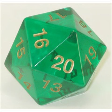 Polyhedral Dice: 20-sided 55mm Emerald Gold by Koplow Games by Koplow Games