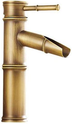 Ayl Vintage Bronze Antique Plein Cuivre Bambou Mélangeur De Cuisine De Salle De Bain Hôtel Robinet Robinet De Lavabo Cuivre Bronze 2 Joints Break