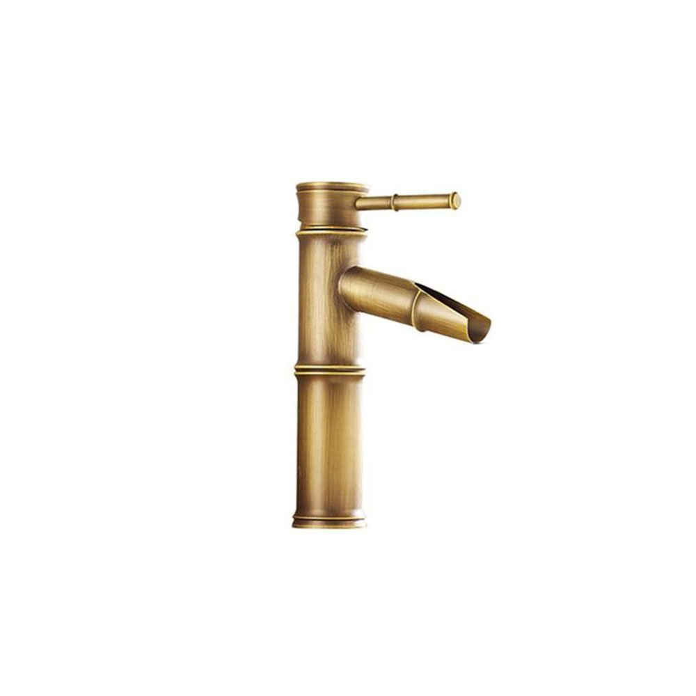 AYL Vintage Antique Bronze Full Copper Bamboo Deck Mounted Kitchen Bathroom Hotel Basin Faucet Tap - Break Mouth, 2 Joints Aiyilian