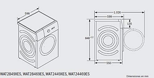 Bosch Serie 6 WAT2849XES Independiente Carga frontal 8kg 1400RPM A ...