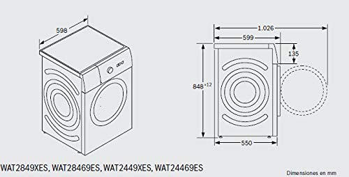 Bosch Serie 6 WAT2849XES Independiente Carga frontal 8kg ...