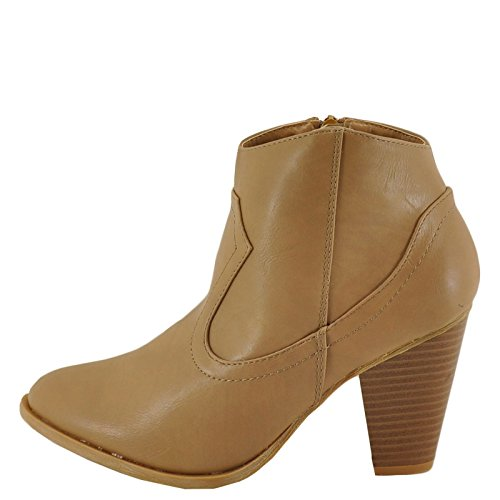 Bamboo REBEL-01 Chunky Heel Western Style Classic Ankle Boot