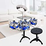 surpzon Kids/Junior Drum Set with Adjustable Throne, Cymbal & Drumsticks, Metallic Blue Christmas
