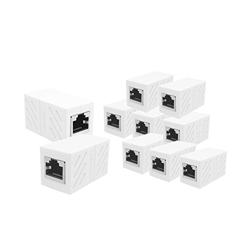 GREEN RJ45 Coupler 10 Pack In Line Coupler Cat7 Cat6 Cat5e Ethernet Cable Extender Adapter Female to Female (White) - Green Cat5e Connector