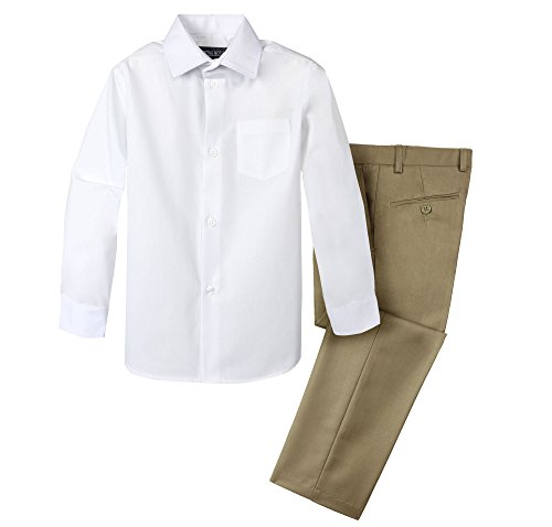 Spring Notion Boys' Dress Pants and Shirt 12 Khaki/White