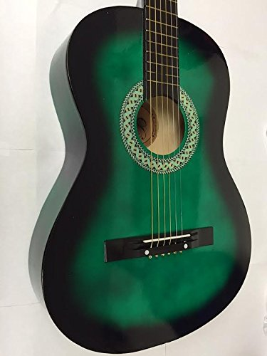 38'' GREEN Acoustic Guitar Starters Beginner Package, Guitars, Gig Bag, Strap, Pitch Pipe Tuner, 2 Pick Guards, Extra String & DirectlyCheap Pick (GR-AG38) [Teacher Approved]