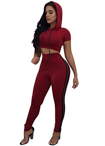 Dreamparis Women's 2 Pieces outfits Hoodies Crop Top+High Waist Long Pant Set Tracksuits Jumpsuits (Red Pants Crop)