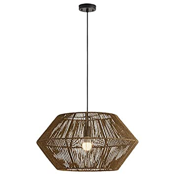 Rivet Rustic Natural Material Construction Pendant Light with Bulb, 60 H, Brown