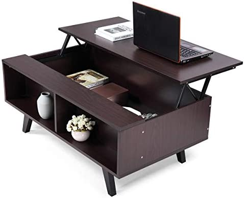 JAXSUNNY Lift Top Coffee Table 39.5 Modern Living Room End Table with Hidden Compartment Storage Shelf