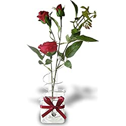 Valentine's Day Decor - Red Roses in a Decorative Glass Vase - Silk Flower Arrangements - Gifts for Valentines Day
