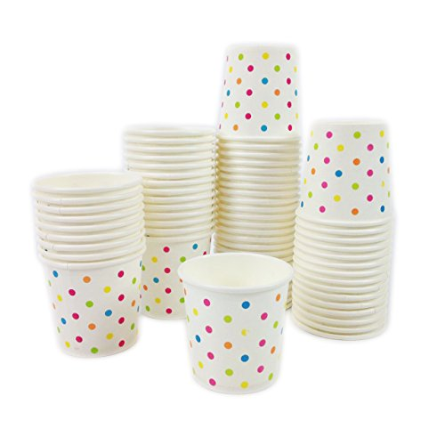 Black Cat Avenue 100 Pack 4 oz Disposable Rainbow Polka Dots Paper Espresso Bathroom Sampling Coffee Cups For Hot and Cold Beverages