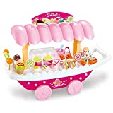 BJLWTQ Kids Pretend Food Toy Ice Cream Candy Cart Shopping Trolley Set Toy Pretend Play Game Toy Set with Music and Lighting Educational Puzzle Toy Gift for Child 3+