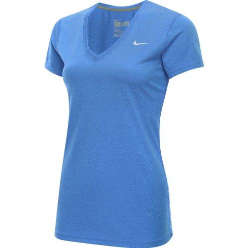 Nike Women's Legend V-Neck T-Shirt (Medium, Blue)