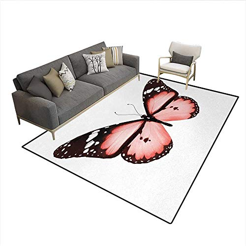 Floor Mat,Butterfly Natural Beauty Animal Free Spirit Wings Valentines Lovers Theme,Rugs for Bedroom,Dark Brown WhiteSize:6'6