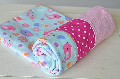 Baby Girls Bird Flannel Blanket - Flannel blanket - Baby blanket - Toddler blanket - Girls Swaddle - Baby Shower Gift - Newborn Flannel Blanket