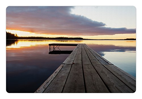 Lunarable Landscape Pet Mat for Food and Water, Sunset Over an Old Oak Deck Pier and Calm Water of The Lake Horizon Serenity, Rectangle Non-Slip Rubber Mat for Dogs and Cats, Multicolor