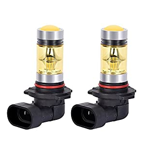 Catinbow LED Fog Light Bulbs H10 9145 9140 Yellow 3000K High Power 100W Auto Fog Light Bulb Replacement 2323 SMD LED Bulbs for Fog Driving Light DRL 1800LM - 2 Pcs