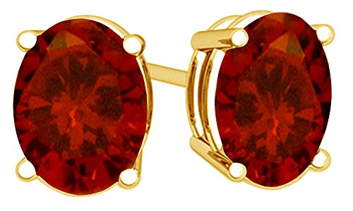 Christmas Sale Simulated Red Garnet Oval Shape Stud Earrings In 14K Yellow Gold Over Sterling Silver (4 Ct) -
