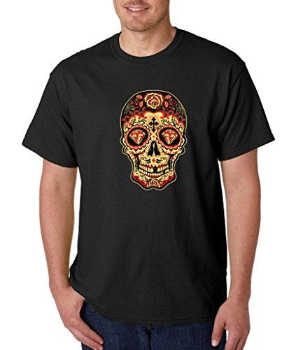 Day of Dead Skull Diamond Eyes T-shirt Sugar Skull Shirts Large Black s9 ()