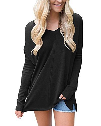 Sunm boutique Women's V-Neck Pullover Sweater Long Sleeve Sweater Black