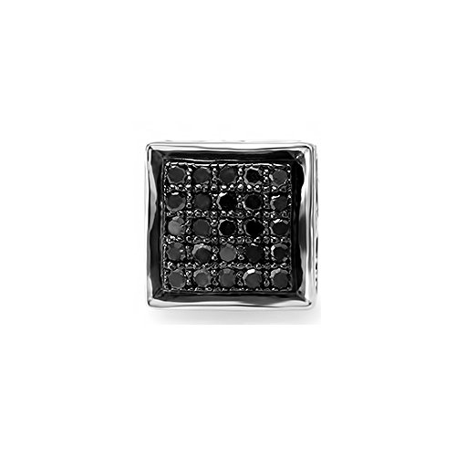 0.13 Carat (ctw) 10K White Gold Round Black Diamond Ladies Mens Unisex Hip Hop Stud Earring (1pc) by DazzlingRock Collection