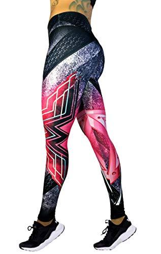 Exit 75 Superhero Many Styles Leggings Yoga Pants Compression Tights (Wonder Woman Pink -
