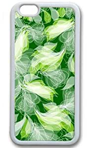 Abstract Green Floral Pattern Seamless Customized Rubber White iphone 6 plus Case On Custom Service