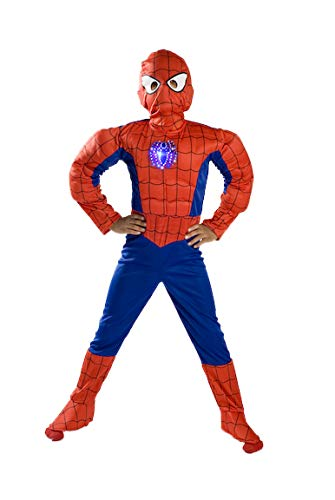 Monika Fashion world Spiderman Costume Boys Kids Light up Size S M Free MASK 4 5 6 7 8 9