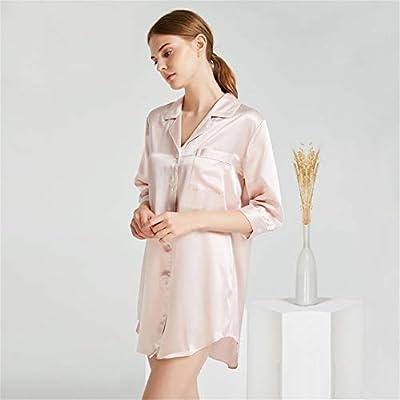 BUTTERFLYSILK Camisa de Dormir de Mujer, Pijama de Seda de Manga Corta Pijama Camisón Camisa de Dormir de Media Manga Camisa de Dormir con Botones Camisón de Dormir Ropa de Dormir,Pink,XL: Amazon.es: