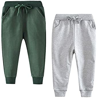 GLEAMING GRAIN Little Boys Cotton Casual Sweatpants Toddler Boys' Drawstring Elastic Waist Solid Color Jogger Pants 2 Pack Set Gray Green 2T