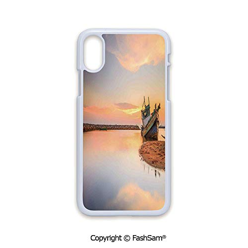 Plastic Rigid Mobile Phone case Compatible with iPhone X Black Edge Vessel on Coast Long Exposure Dramatic Sunset Photo Solitude Lonely Twilight Theme 2D Print Hard Plastic Phone Case