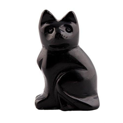 Stone Healing Cat Rose (Natural Stone 2.0inch Cat Statue Feng Shui Crafts Carved Figurine Chakra Carving Healing Reiki Free Pouch (Black obsidian))